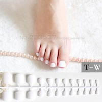 Candy DIY Fashion  Colors Toe Nails 24pcs Acrylic False Toes Art Tips Fake Toenails lovely  Real white  T-W