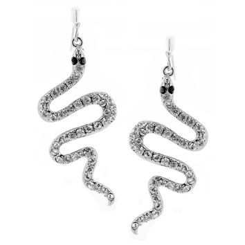 Serpentine - White Gold Plated Brass Snake Shaped Dangle Earrings With Clear CZ Stones