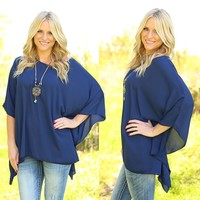 Pretty Poncho Top in Navy