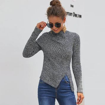 Half Turtleneck Ribbed Loft Sweater