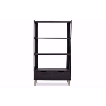 Dark Brown Wood Leaning Bookcase with Display Shelves and Two Drawers By Baxton Studio
