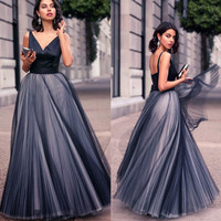 Navy Blue Long Prom Dress 2016 Pleated Tulle V-Neck Backless A-Line Long Prom Dresses Formal Prom Party Dress PD08
