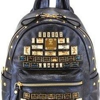 MCM Mini Edeline Navy Metallic Bacpack Topaz Gold Leather Handbag Bag New