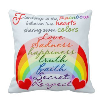 Friendship is the rainbow BFF Saying Design Throw Pillows
