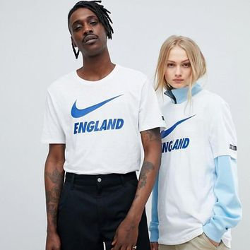 Nike Football England Tide Brand White LOGO Print Casual Couple Short Sleeve F-XMCP-YC white