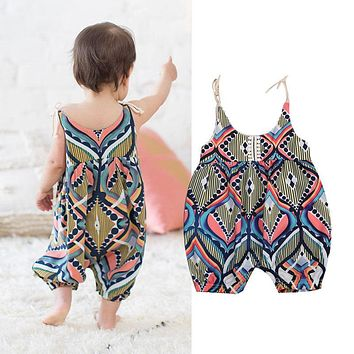c45fdb4cf334 2018 NEW Newborn Infant Baby Girls Sleeveless Floral Stripe Boho