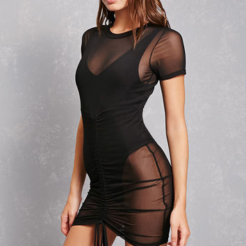 Ruched Detail Mesh Dress