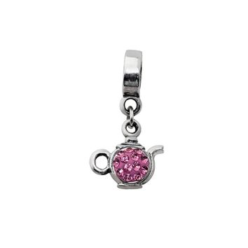 Sterling Silver Pink Crystal Teapot Dangle Bead Charm