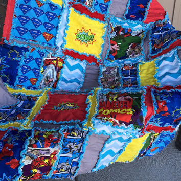 Rag Quilt, Superhero Themed, Crib Size Baby Blanket or Toddler Blanket