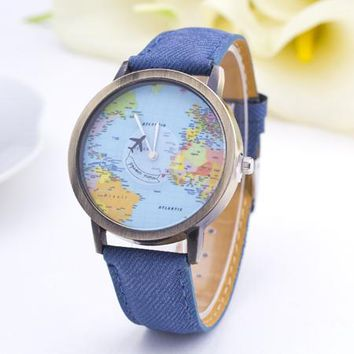 World Map Watch - Vintage Leather Women Watch with Plane