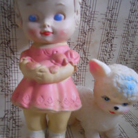 Vintage 1962 Kitsch Girl Rubber Squeak Toy