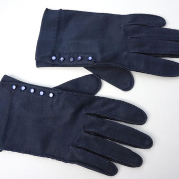 Vintage Gloves,Fownes Doette Deluxe Gloves,Double Woven Cotton Gloves,Size 6.5 Small Short Gloves,Hand Sewn Navy Blue Gloves,50s Fashions