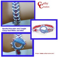 Beaded Bracelet and Toggle Clasp Red White and Blue | cathycreates.net