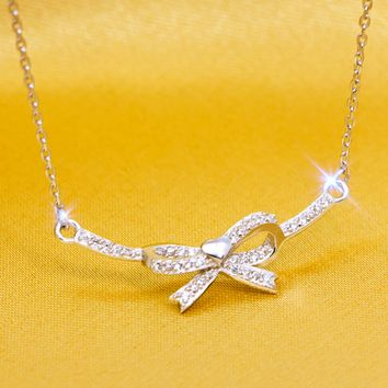 Simple bowknot zircon 925 sterling silver necklace