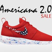 Custom Nike Roshe, Roshe Run, American Flag Roshe Run, Red Roshe Run, Roshe Run, Red and White Roshe Run,