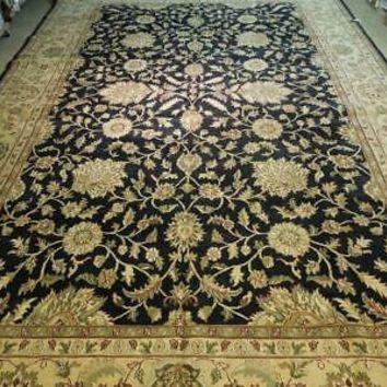 12' x 19' Agra Black Soft Authentic Handmade Indian Wool Rug