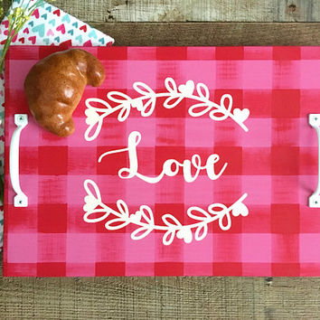 Serving Tray,Ottoman Tray,Breakfast Tray,Valentines Day Decor,Buffalo Plaid Decor,Kitchen Tray,Valentine Wedding,Valentines Day Gift