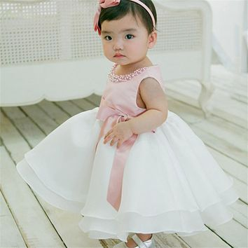 Toddler Girl Princess Dresses 1 Year Birthday Party and Wedding Tutu Dress with Pearl Infant Christening Gown Baby Baptism Dress