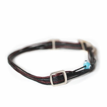 D'or 925 Sterling Silver Buckle & Evil Eye 8'' Black & Burgundy Wax Nylon Cord Bracelet
