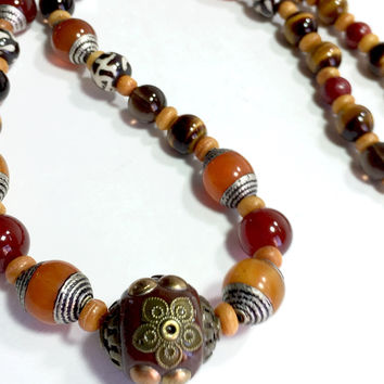 """21"""" Eye of the Tiger Necklace with Tiger's Eye, Tibet Amber beads, plus more, silver box clasp"""