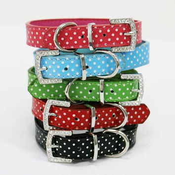 Red Polka dots dog collar, Rhinestone buckle, Cat pet collar, PU Leather, Love Red
