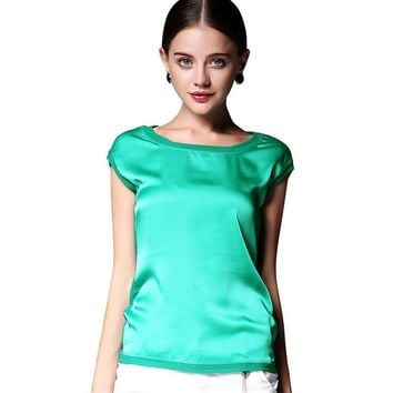 Summer women blouses new casual chiffon silk blouse slim sleeveless O-neck blusa feminina tops shirts solid 6 color