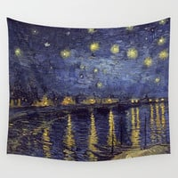 Vincent Van Gogh Starry Night Over The Rhone Wall Tapestry by Art Gallery