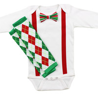 Baby Boys Christmas Outfit | Striped Christmas Bow Tie Red Suspenders & Argyle Leg Warmers Outfit | Boys Christmas Set