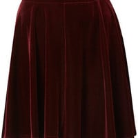 Oxblood Velvet Skater Skirt - Skirts  - Apparel