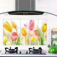 Hotsale Removable Tulip Kitchen Waterproof And Oil Proof Stickers Home Decor Kitchen Tiles Wall Stickers 45*75cm0806