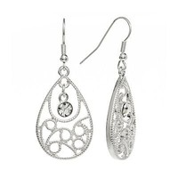 Croft and Barrow Silver Tone Simulated Crystal Filigree Teardrop Earrings