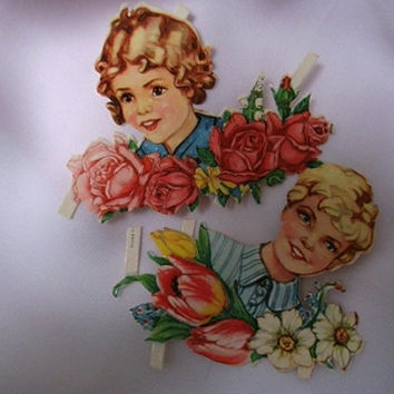 German die cuts. Original die cuts. Ephemera. Card making. Scrapbooking supplies. Embossed die cuts. Vintage children die cuts.