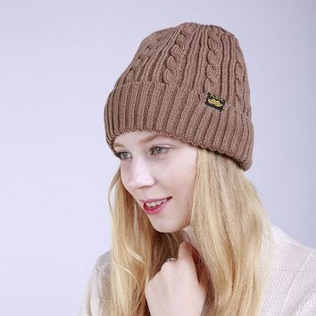 Winter Outdoor Leisure Warm Hat Cap Lady Fashion Without Brim Hat Solid Colour Blended Knitted Female Hat Women Beanies