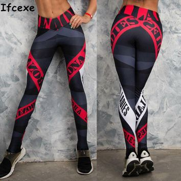 Butt Lifting Yoga Pants Women Red Striped Sport Leggings Tight Fitness Athletic Leggings Sportswear
