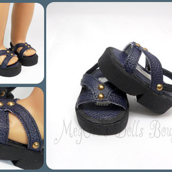 American Girl Doll Sandals, Chunky Soles, Platform Navy Blue