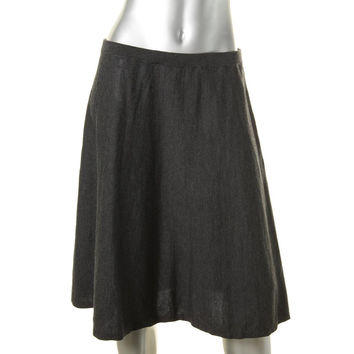 Eileen Fisher Womens Merino Wool Knit Flare Skirt