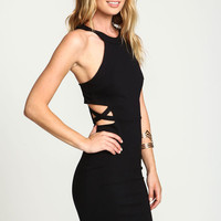 BLACK X STRAP CAGE BODYCON DRESS