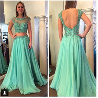 Green Cap Sleeve Prom Dresses,Two Piece Prom Dress