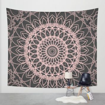 mandala rose quartz color of the year Wall Tapestry by Xiari | Society6