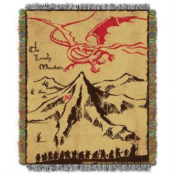 The Hobbit: An Unexpected Journey Lonely Mountain Woven Tapestry Throw Blanket | WBshop.com