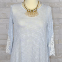 Crochet Patch Sleeve Tunic Knit Top - Staccato - Blue
