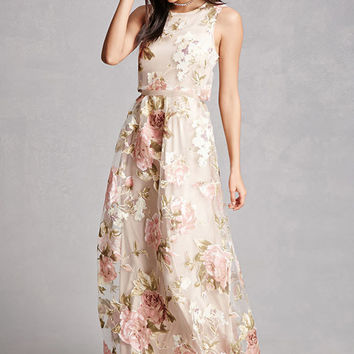 Floral Tulle Overlay Dress