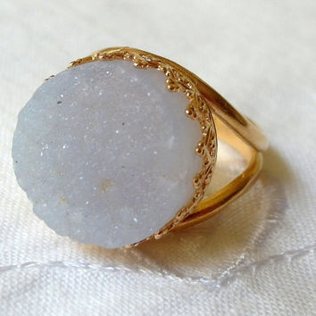 Druzy Chalcedony ring, Gemstone ring,  Gold ring, Druzy ring, cocktail ring, aqua blue stone ring, 14 mm Gemstone ring, bridal ring
