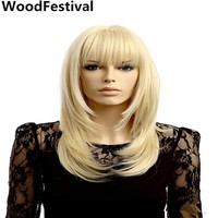 WoodFestival blonde bangs synthetic women resistant fiber cosplay
