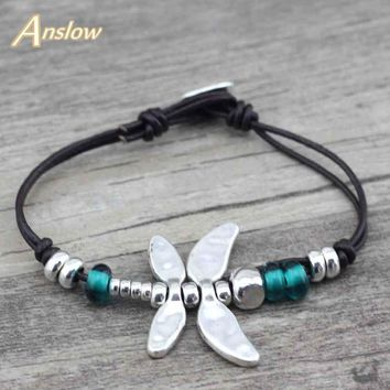 Anslow New Arrivals Couple Dragonfly Silver Plated Leather Bracelet  Free Shipping