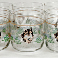Vintage six lowball juice glasses in a southwestern wolf design retro 80s glassware in brown blue green with gold trim