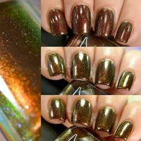 Sequoia Gigantea - Chocolate Brown Jelly Polish with Flakies and Red to Green Pigment