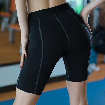 Yoga Leggings Women High Elasticity Sports Cropped Sho'r't's Quick Dry Gym Running Capris Fitness Yoga Female Tights