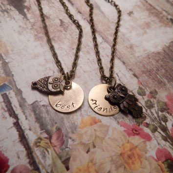 Best Friends Necklace Set with Owl Charms - CHOOSE BETWEEN 5 OWLS - Best Friend Necklaces - Custom Owl Necklaces