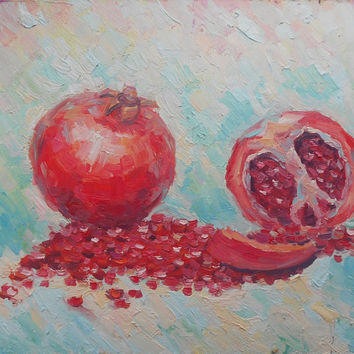 Original Garnet Painting Still Life Kitchen decor Realistic Juicy Fruit Picture Contemporary Fine Modern Art Photo to Painting Realism